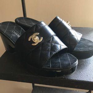 Chanel chunky heel mules
